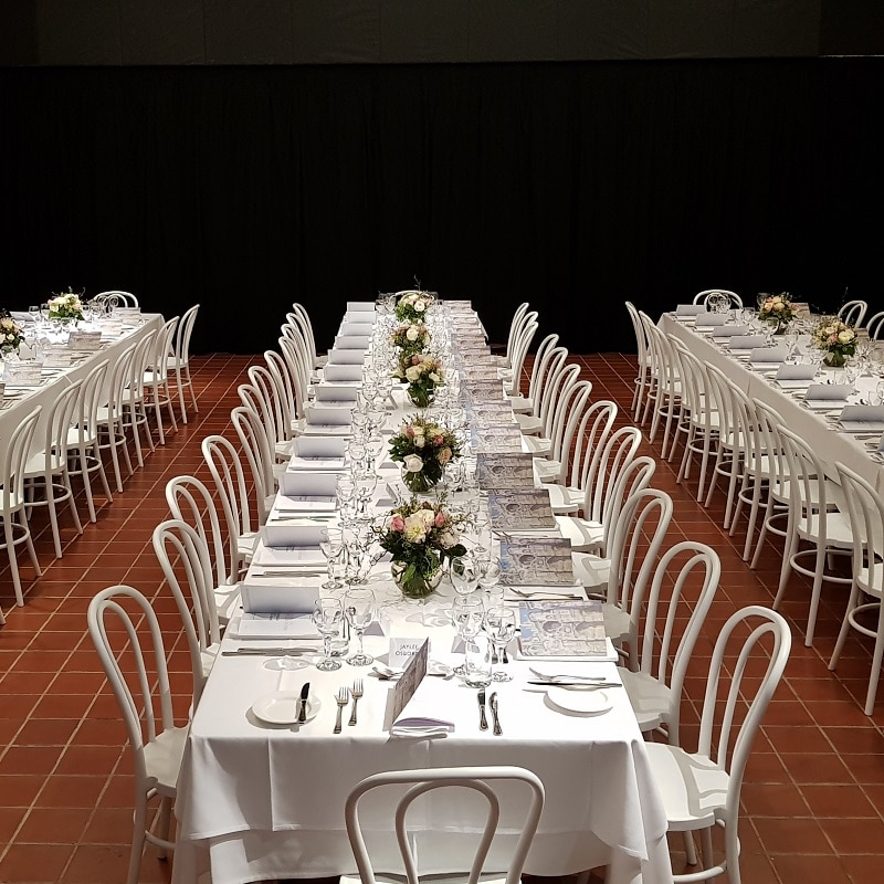 Event HIRE function room white bentwood and linen